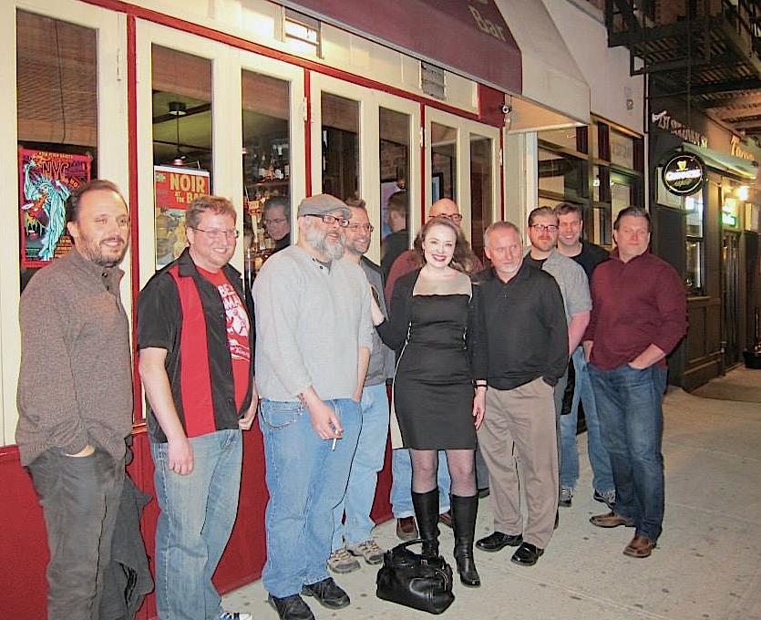L to R: Alex Segura, Bryon Quertermous, person in window photobombing, Todd Robinson, moi, Hilary Davidson, Terrence McCauley (partially hidden), Tim O'Mara, Rob Hart, Dave White, Glenn Gray.